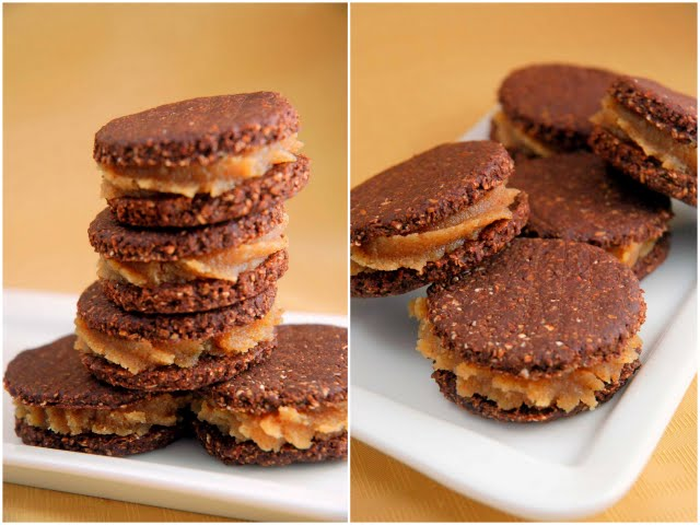Raw Chocolate & Peanut Butter Sandwich Cookies