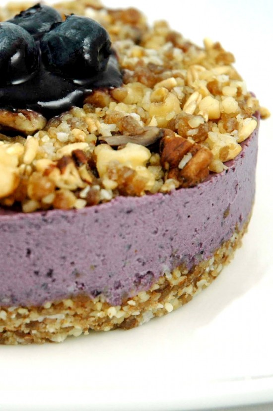 Raw Blueberry Cheesecake with Crumb Topping | A Dash of Compassion