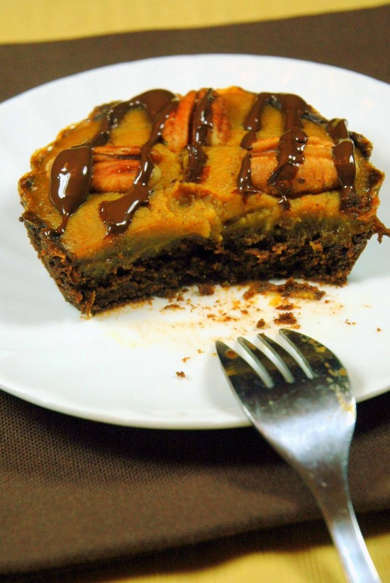 Pumpkin Brownie Tarts (or Pie) | A Dash of Compassion