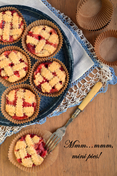 Strawberry Rhubarb Mini Pies | A Dash of Compassion