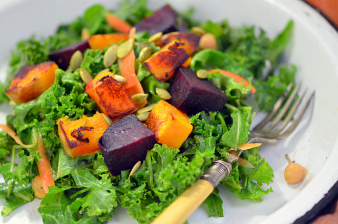 Roasted Squash & Beet Salad with Shallot Dressing | A Dash of Compassion