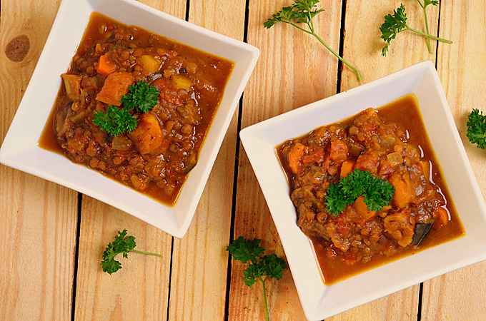 Moroccan Vegetable & Lentil Stew | A Dash of Compassion