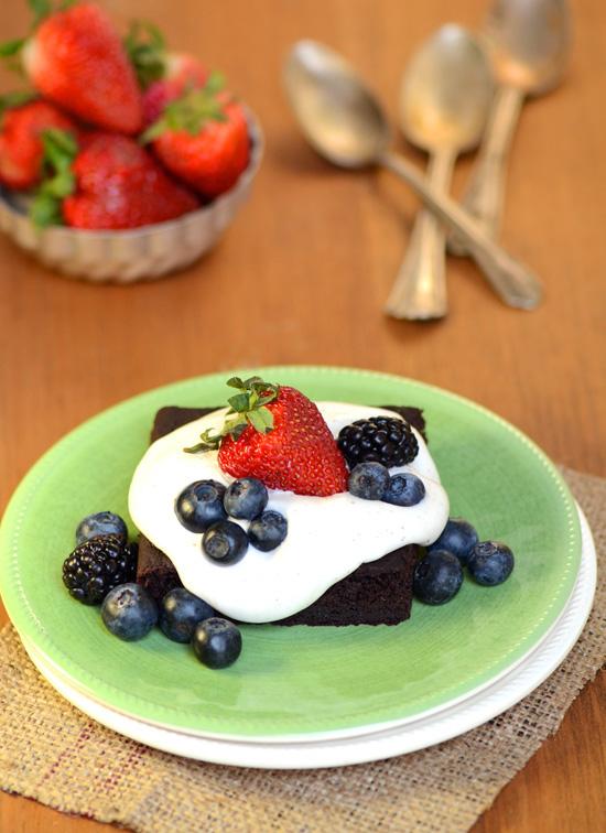 Gluten-free Fudge Cake with Coconut Cream & Berries   A Dash of Compassion