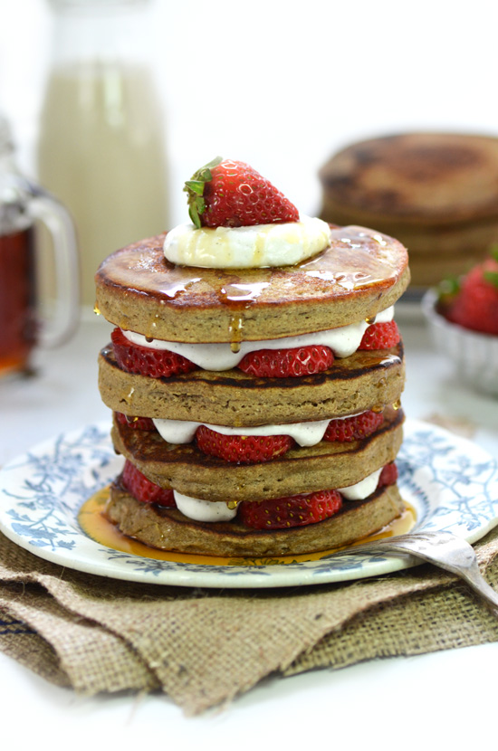 Gluten-free Strawberry Shortcake Pancakes | A Dash of Compassion