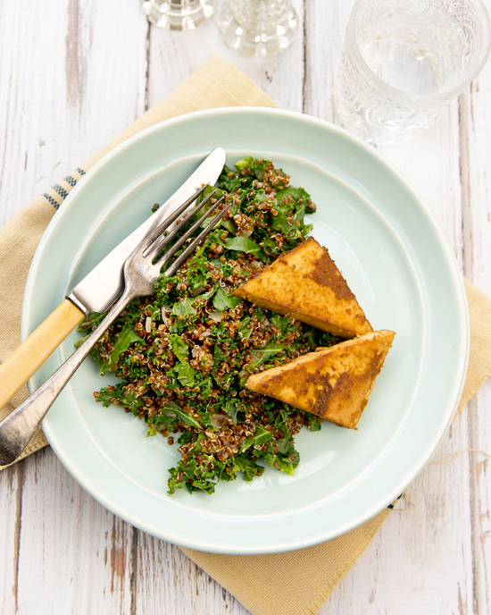 Quinoa & Kale with Baked Ginger Tofu | A Dash of Compassion