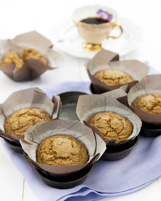 Gluten-free, Oil-free Masala Chai Carrot Muffins | A Dash of Compassion