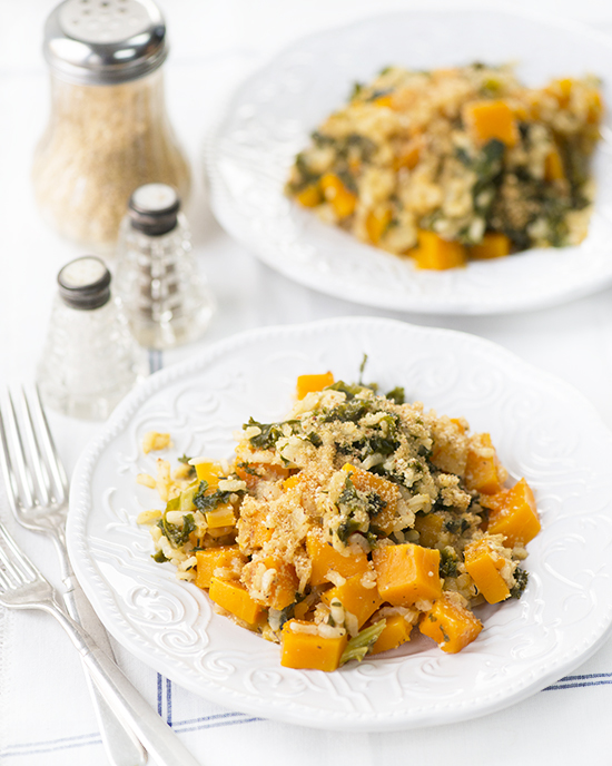 Easy Vegan Butternut Squash & Kale Risotto with Cheesy Almond Parmesan | A Dash of Compassion