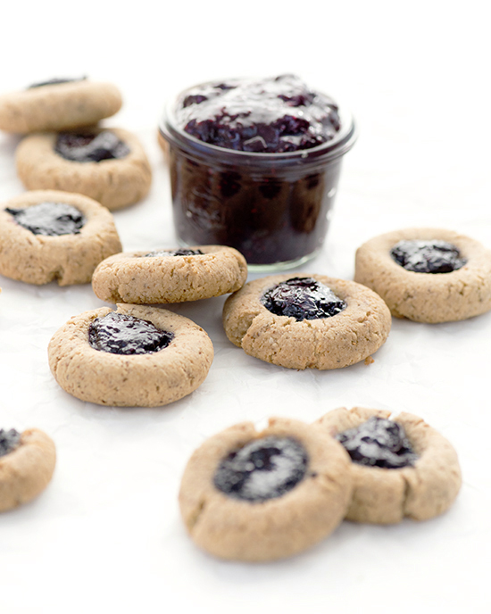 Gluten-Free Almond Thumbprint Cookies with Blueberry Chia Jam | A Dash of Compassion