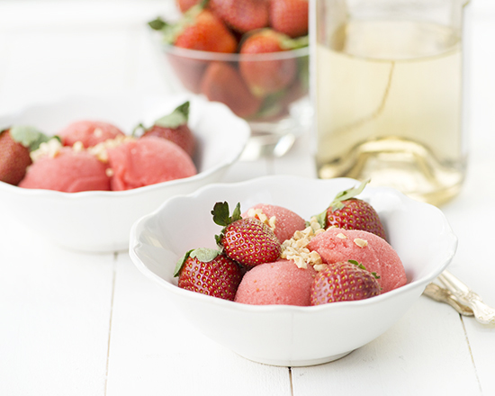 Strawberries & Champagne Sorbet from Sweet Eats for All | A Dash of Compassion
