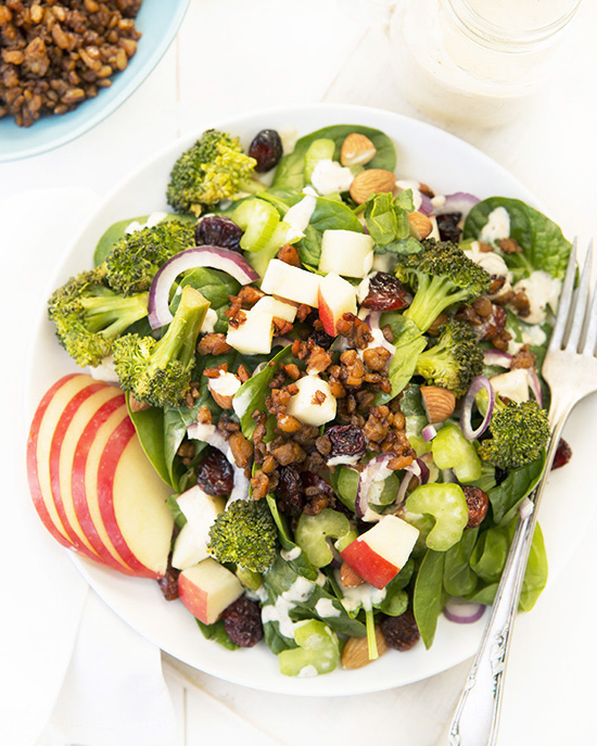 Roasted Broccoli & Apple Salad with Lemon-Tahini Dressing from But I Could Never Go Vegan! | A Dash of Compassion