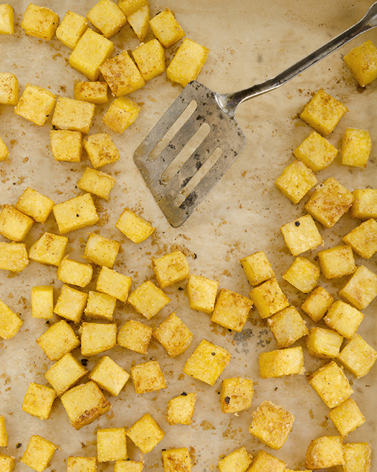 Seasoned Polenta Croutons from Plant-Powered Families | A Dash of Compassion