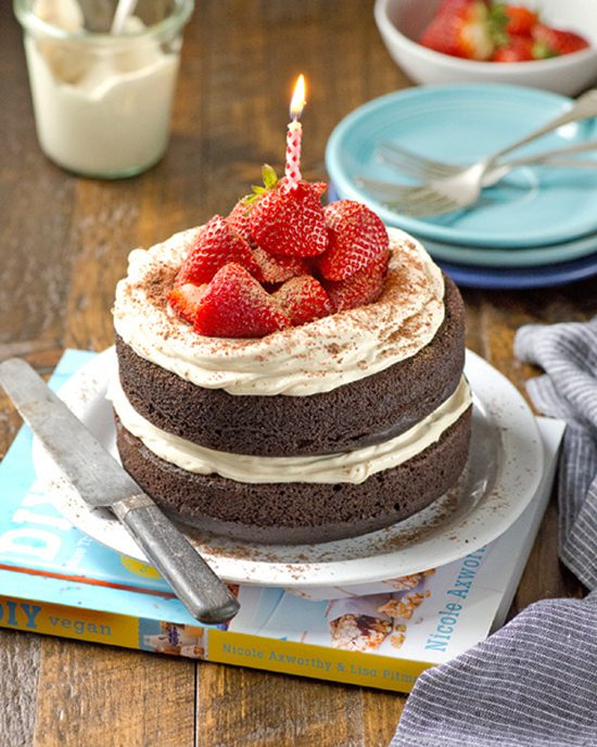 Dark Chocolate Cake with White Chocolate Mousse Frosting | A Dash of Compassion