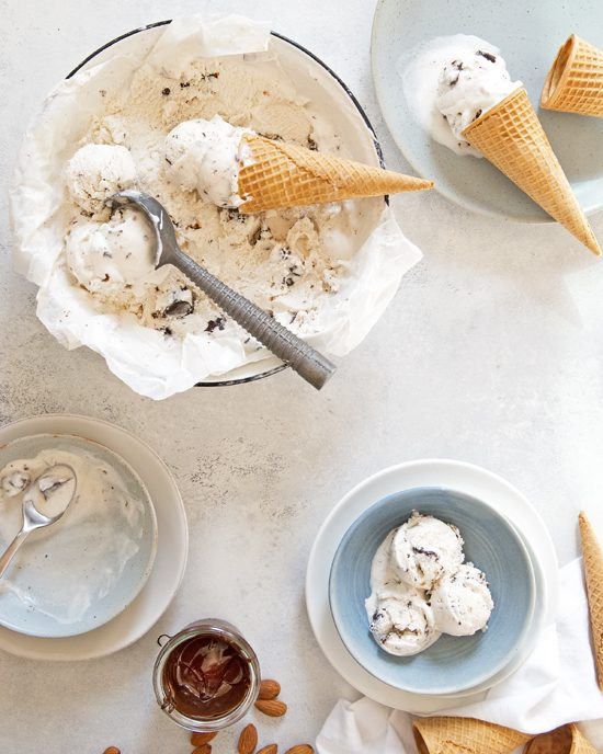 Bourbon Salted Chocolate-Pecan Cluster Ice Cream | A Dash of Compassion