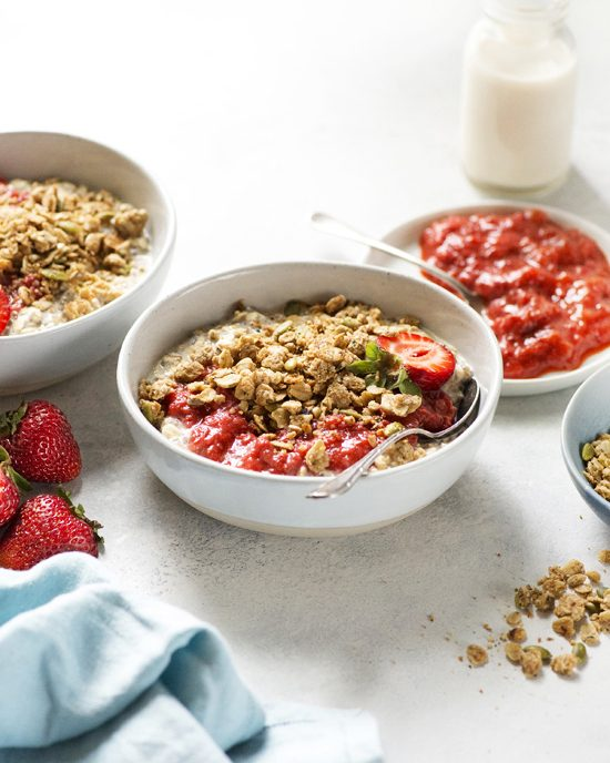 Strawberry-Rhubarb Overnight Oats with Easy Compote and Crumble Toppings | A Dash of Compassion